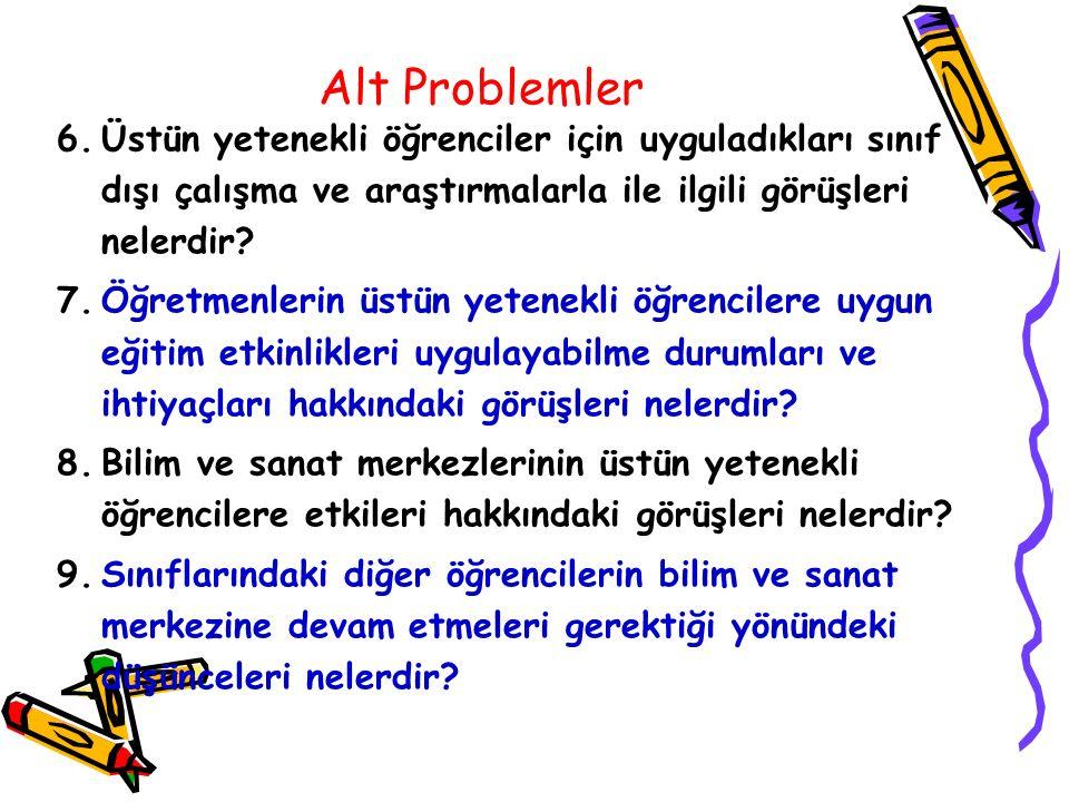 Alt Problemler 6.Üstün yetenekli öğrenciler için uyguladıkları sınıf dışı çalışma ve araştırmalarla ile ilgili görüşleri nelerdir? 7.Öğretmenlerin üst