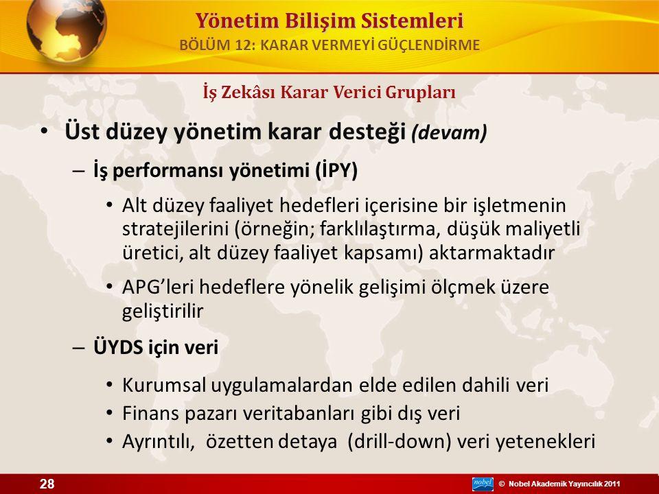 © Nobel Akademik Yayıncılık 2011 Yönetim Bilişim Sistemleri Üst düzey yönetim karar desteği (devam) – İş performansı yönetimi (İPY) Alt düzey faaliyet
