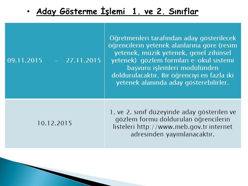 Aday Gösterme İşlemi 1. ve 2. Sınıflar 09.11.2015 - 27.11.2015 Öğretmenleri tarafından aday gösterilecek öğrencilerin yetenek alanlarına göre (resim y
