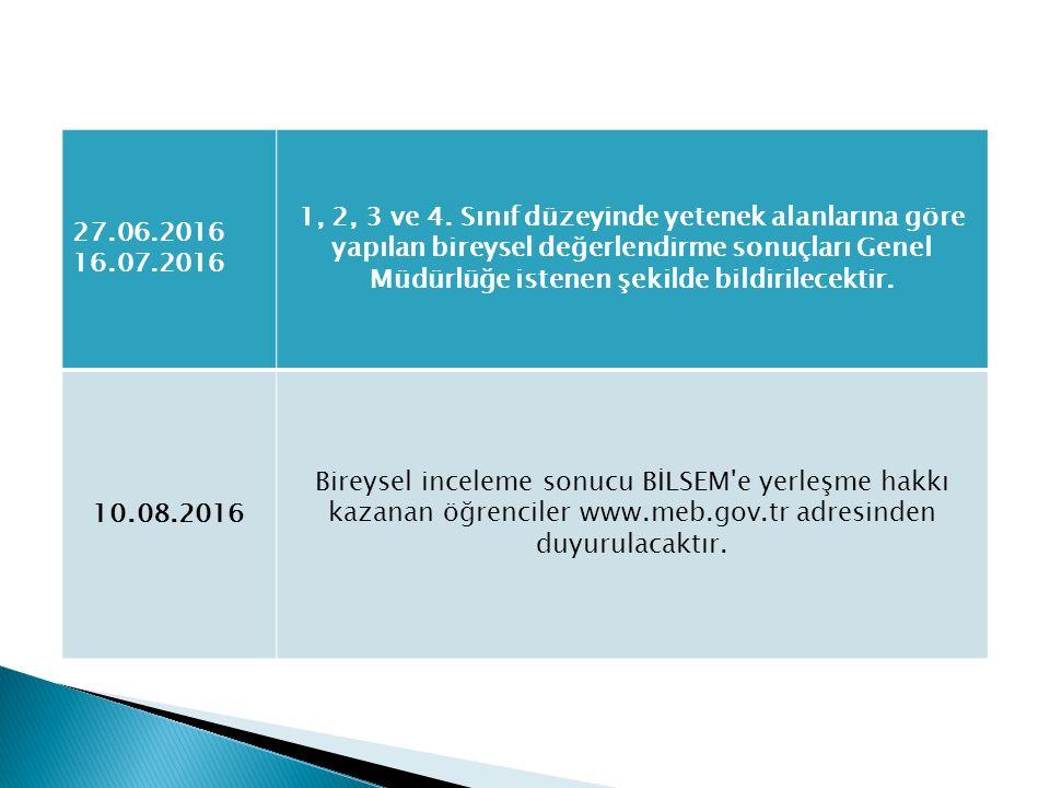 27.06.2016 16.07.2016 1, 2, 3 ve 4. Sınıf düzeyinde yetenek alanlarına göre yapılan bireysel değerlendirme sonuçları Genel Müdürlüğe istenen şekilde b