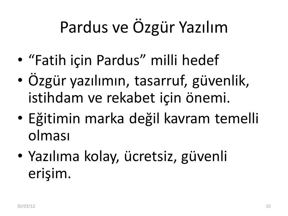"""Pardus ve Özgür Yazılım """"Fatih için Pardus"""" milli hedef Özgür yazılımın, tasarruf, güvenlik, istihdam ve rekabet için önemi. Eğitimin marka değil kavr"""