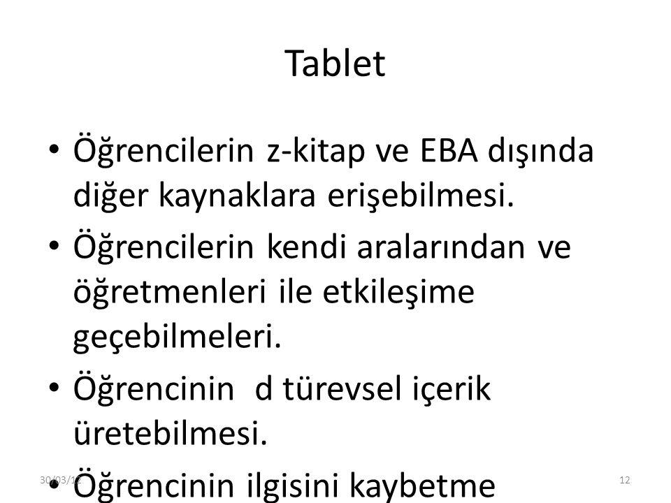 Tablet Öğrencilerin z-kitap ve EBA dışında diğer kaynaklara erişebilmesi.