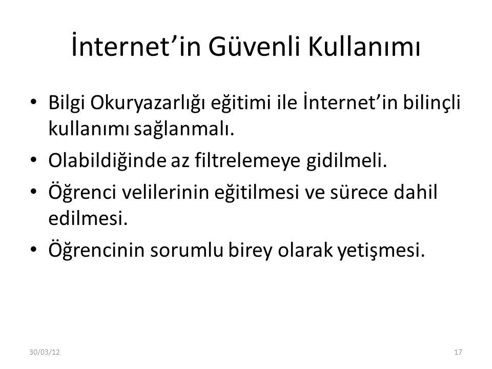 İnternet'in Güvenli Kullanımı Bilgi Okuryazarlığı eğitimi ile İnternet'in bilinçli kullanımı sağlanmalı.