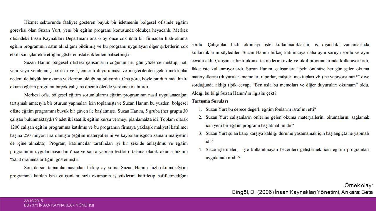 22/10/2015 BBY373 İNSAN KAYNAKLARı YÖNETIMI 26 Örnek olay: Bingöl, D. (2006) İnsan Kaynakları Yönetimi, Ankara: Beta