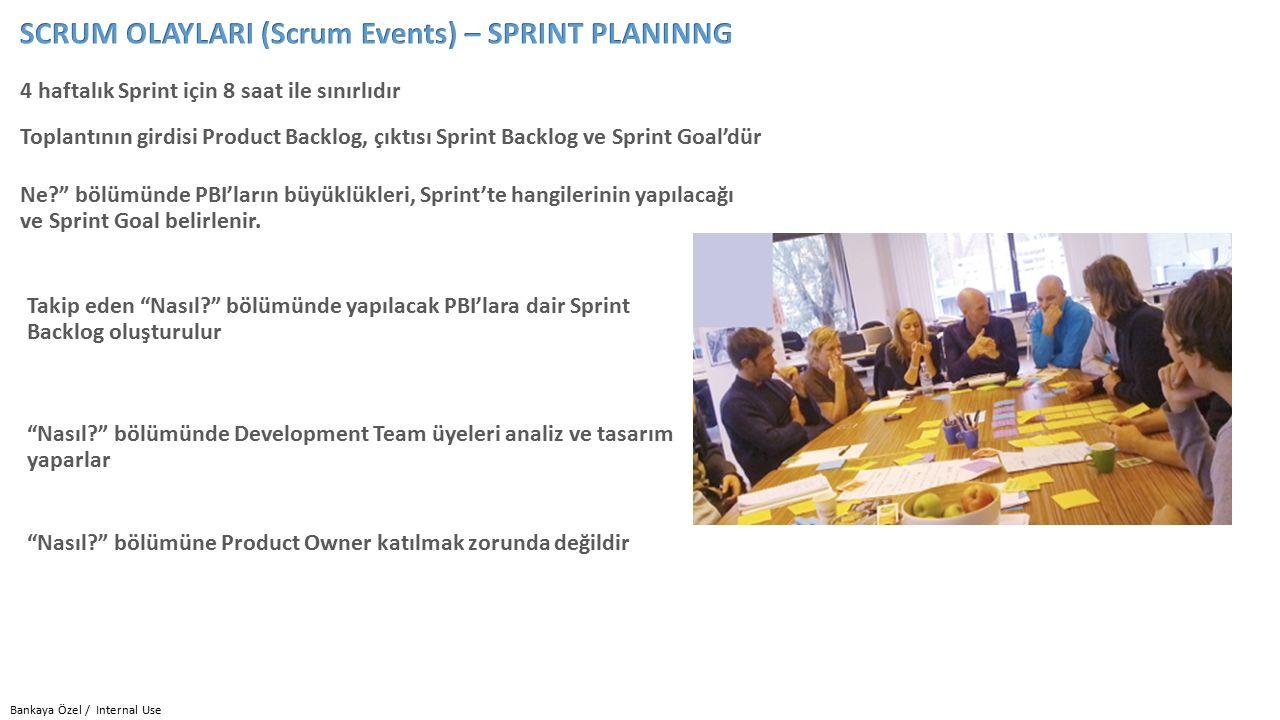 Bankaya Özel / Internal Use 4 haftalık Sprint için 8 saat ile sınırlıdır Takip eden Nasıl? bölümünde yapılacak PBI'lara dair Sprint Backlog oluşturulur Ne? bölümünde PBI'ların büyüklükleri, Sprint'te hangilerinin yapılacağı ve Sprint Goal belirlenir.