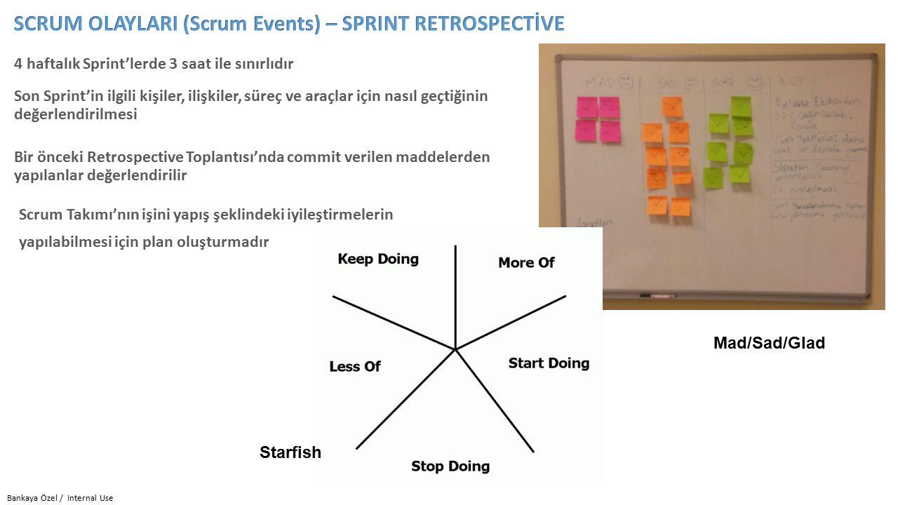Bankaya Özel / Internal Use 4 haftalık Sprint'lerde 3 saat ile sınırlıdır Scrum Takımı'nın işini yapış şeklindeki iyileştirmelerin yapılabilmesi için plan oluşturmadır Bir önceki Retrospective Toplantısı'nda commit verilen maddelerden yapılanlar değerlendirilir Son Sprint'in ilgili kişiler, ilişkiler, süreç ve araçlar için nasıl geçtiğinin değerlendirilmesi Starfish Mad/Sad/Glad