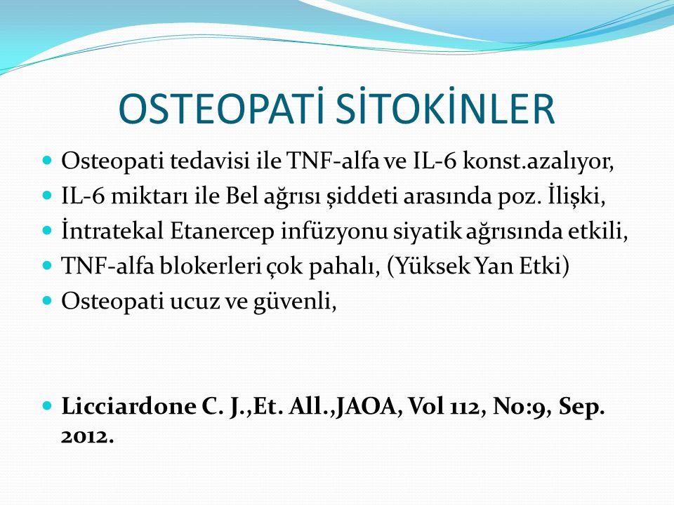 OSTEOPATİ SİTOKİNLER Osteopati tedavisi ile TNF-alfa ve IL-6 konst.azalıyor, IL-6 miktarı ile Bel ağrısı şiddeti arasında poz. İlişki, İntratekal Etan
