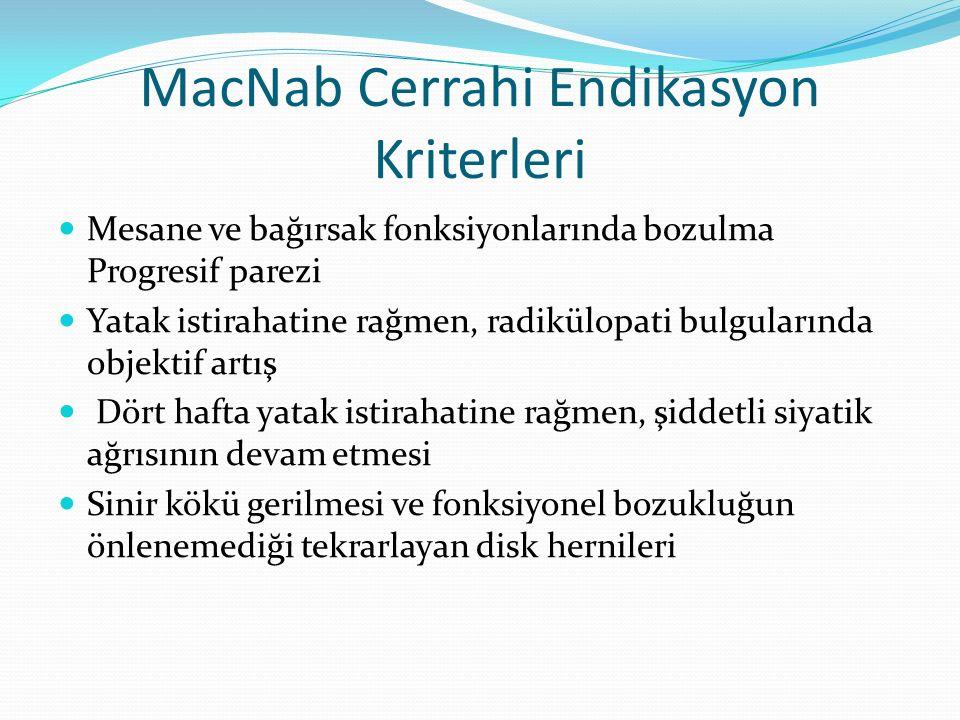 MacNab Cerrahi Endikasyon Kriterleri Mesane ve bağırsak fonksiyonlarında bozulma Progresif parezi Yatak istirahatine rağmen, radikülopati bulgularında