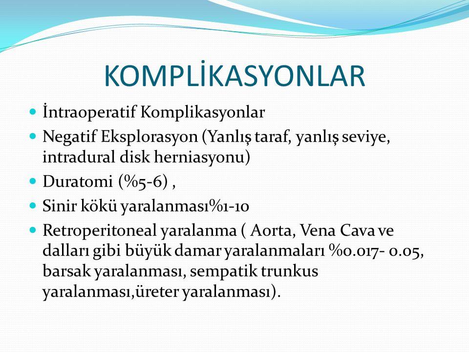 KOMPLİKASYONLAR İntraoperatif Komplikasyonlar Negatif Eksplorasyon (Yanlış taraf, yanlış seviye, intradural disk herniasyonu) Duratomi (%5-6), Sinir k