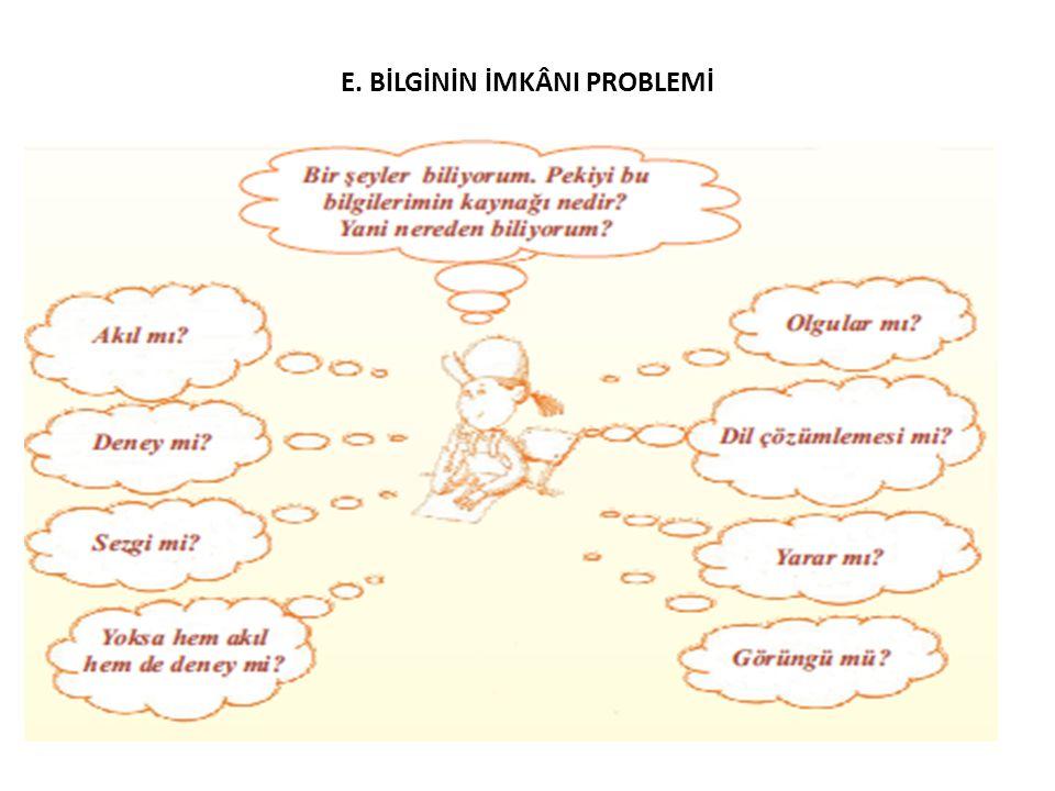E. BİLGİNİN İMKÂNI PROBLEMİ