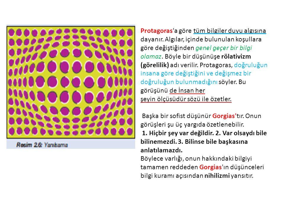 Protagoras'a göre tüm bilgiler duyu algısına dayanır. Algılar, içinde bulunulan koşullara göre değiştiğinden genel geçer bir bilgi olamaz. Böyle bir d