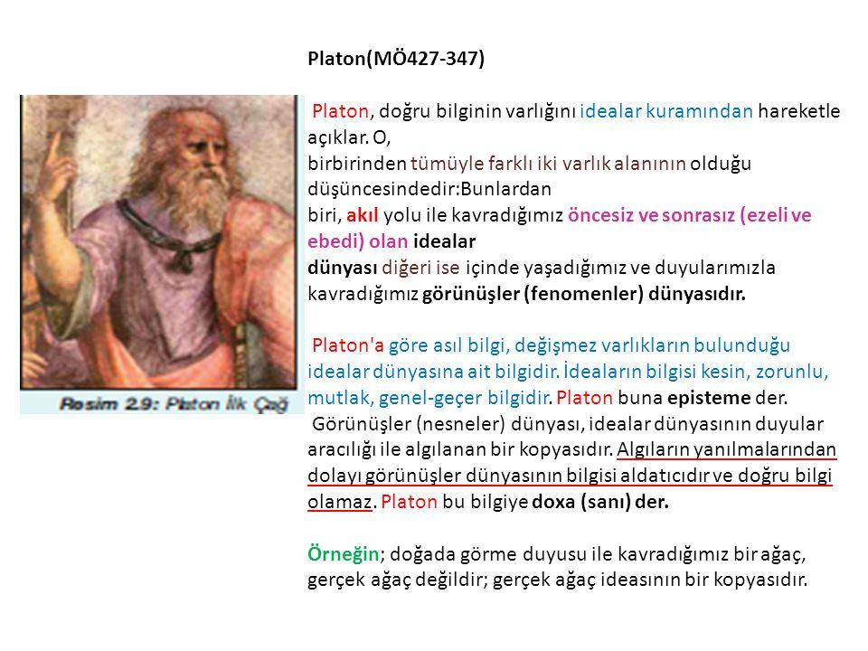 Platon(MÖ427-347) Platon, doğru bilginin varlığını idealar kuramından hareketle açıklar. O, birbirinden tümüyle farklı iki varlık alanının olduğu düşü