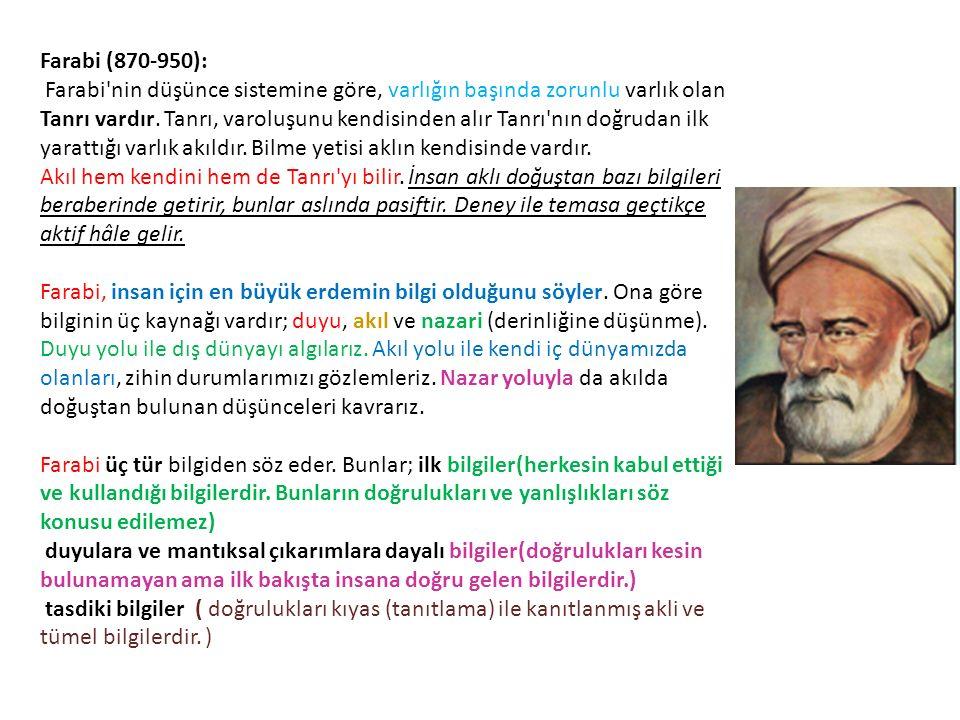 Farabi (870-950): Farabi'nin düşünce sistemine göre, varlığın başında zorunlu varlık olan Tanrı vardır. Tanrı, varoluşunu kendisinden alır Tanrı'nın d