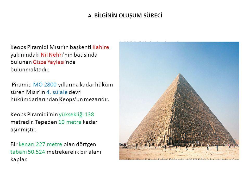 A. BİLGİNİN OLUŞUM SÜRECİ Keops Piramidi Mısır'ın başkenti Kahire yakınındaki Nil Nehri'nin batısında bulunan Gizze Yaylası'nda bulunmaktadır. Piramit