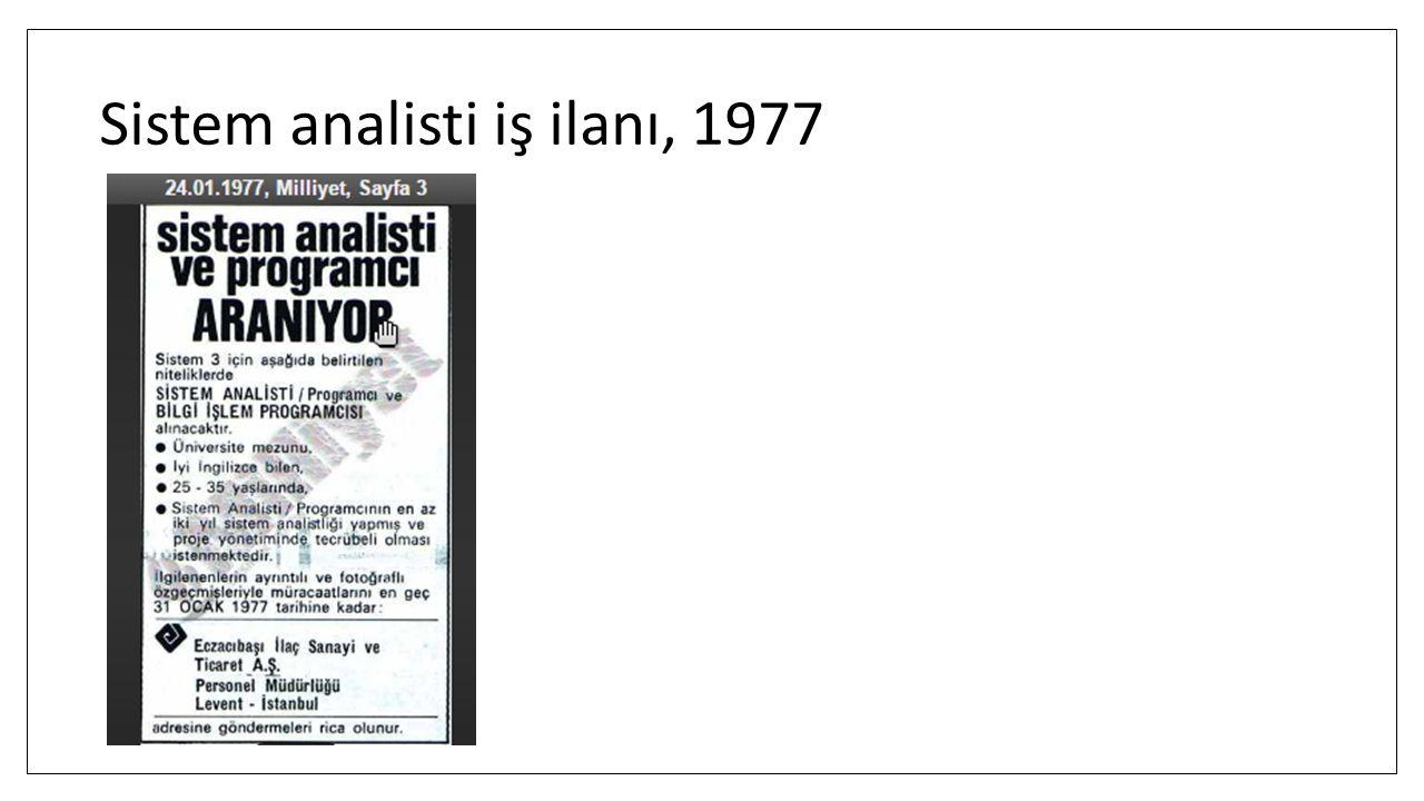 Sistem analisti iş ilanı, 1977