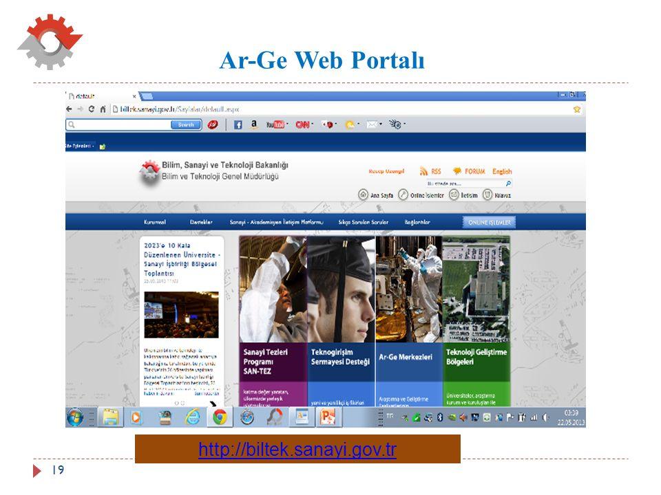 Ar-Ge Web Portalı http://biltek.sanayi.gov.tr 19