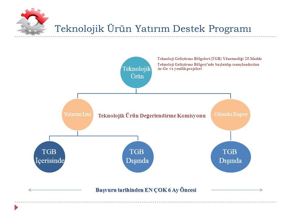 Teknoloji Geliştirme Bölgeleri (TGB) Yönetmeliği 25.Madde Teknoloji Geliştirme Bölgesi'nde başlatılıp sonuçlandırılan Ar-Ge ve yenilik projeleri Teknolojik Ürün Değerlendirme Komisyonu Teknolojik Ürün Yatırım Destek Programı Teknolojik Ürün Olumlu RaporYatırım İzni TGB İçerisinde TGB Dışında TGB Dışında Başvuru tarihinden EN ÇOK 6 Ay Öncesi