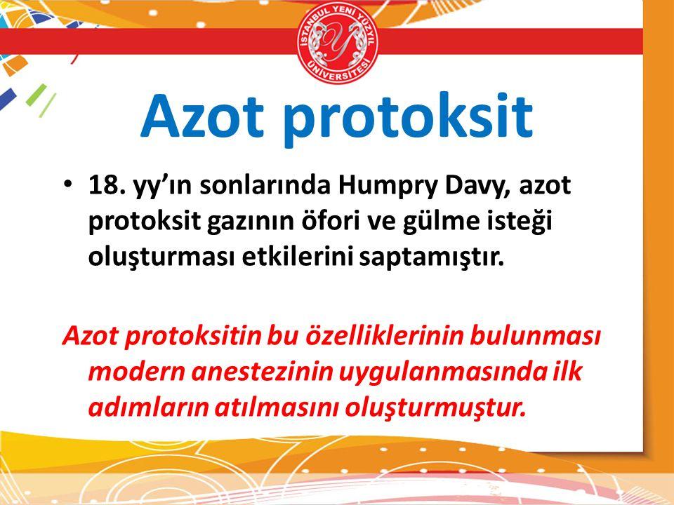 Azot protoksit 18. yy'ın sonlarında Humpry Davy, azot protoksit gazının öfori ve gülme isteği oluşturması etkilerini saptamıştır. Azot protoksitin bu