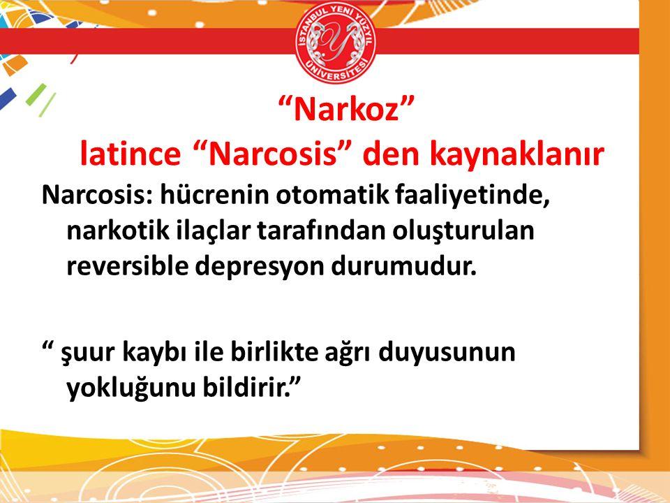 """""""Narkoz"""" latince """"Narcosis"""" den kaynaklanır Narcosis: hücrenin otomatik faaliyetinde, narkotik ilaçlar tarafından oluşturulan reversible depresyon dur"""