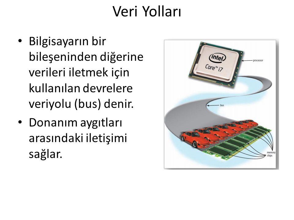 Veri Yolları Bilgisayarın bir bileşeninden diğerine verileri iletmek için kullanılan devrelere veriyolu (bus) denir. Donanım aygıtları arasındaki ilet