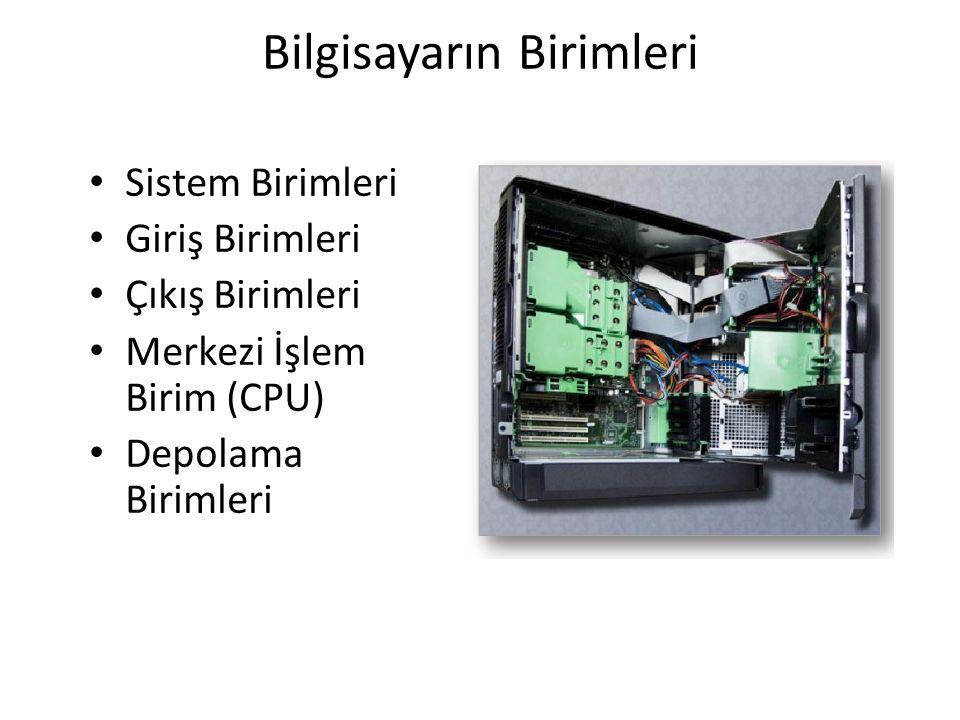 Bilgisayarın Birimleri Sistem Birimleri Giriş Birimleri Çıkış Birimleri Merkezi İşlem Birim (CPU) Depolama Birimleri
