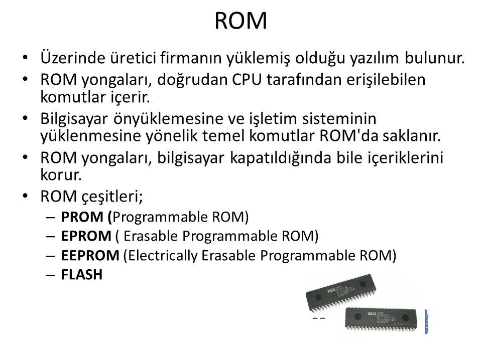ROM Üzerinde üretici firmanın yüklemiş olduğu yazılım bulunur. ROM yongaları, doğrudan CPU tarafından erişilebilen komutlar içerir. Bilgisayar önyükle