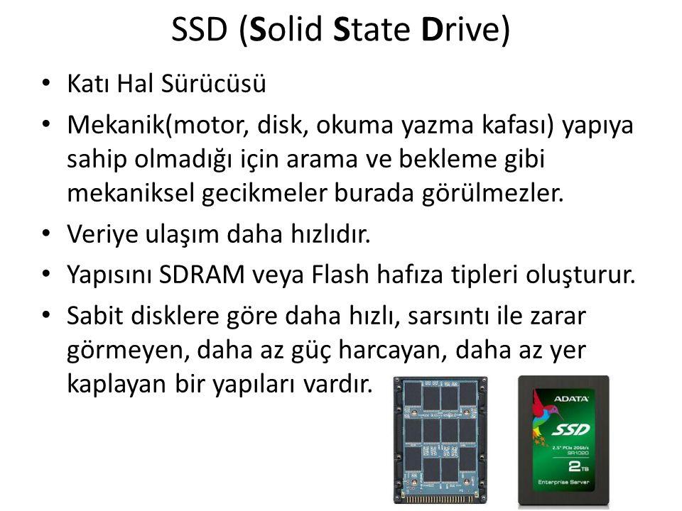 SSD (Solid State Drive) Katı Hal Sürücüsü Mekanik(motor, disk, okuma yazma kafası) yapıya sahip olmadığı için arama ve bekleme gibi mekaniksel gecikme