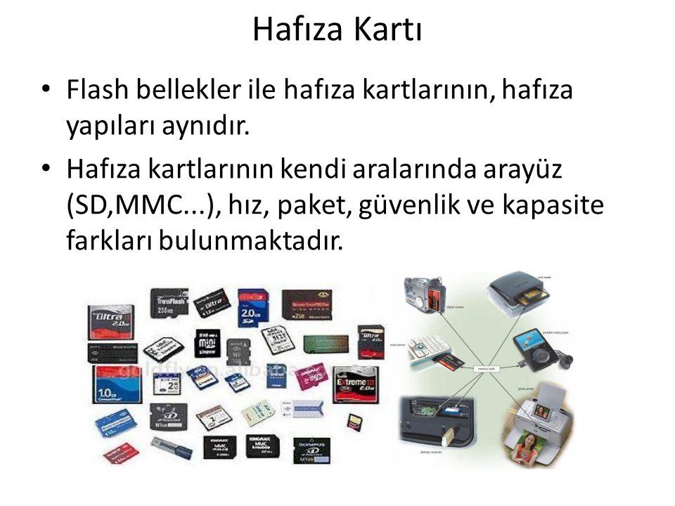 Hafıza Kartı Flash bellekler ile hafıza kartlarının, hafıza yapıları aynıdır. Hafıza kartlarının kendi aralarında arayüz (SD,MMC...), hız, paket, güve
