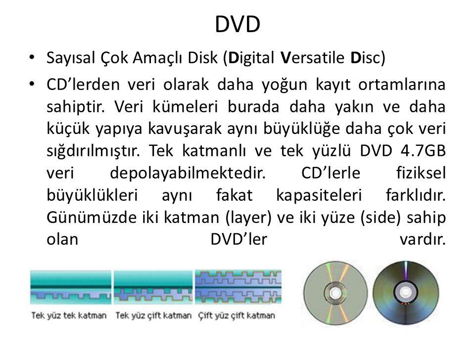 DVD Sayısal Çok Amaçlı Disk (Digital Versatile Disc) CD'lerden veri olarak daha yoğun kayıt ortamlarına sahiptir. Veri kümeleri burada daha yakın ve d