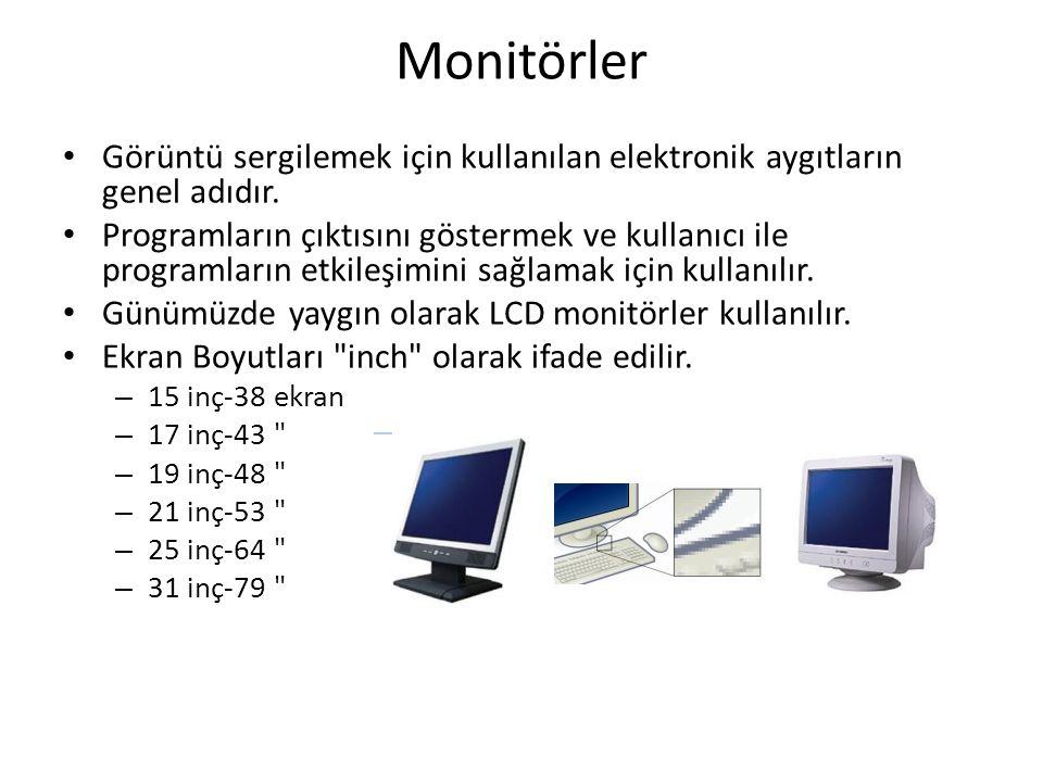 Monitörler Görüntü sergilemek için kullanılan elektronik aygıtların genel adıdır. Programların çıktısını göstermek ve kullanıcı ile programların etkil