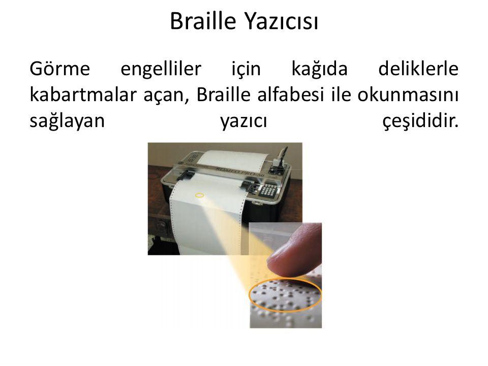 Braille Yazıcısı Görme engelliler için kağıda deliklerle kabartmalar açan, Braille alfabesi ile okunmasını sağlayan yazıcı çeşididir.