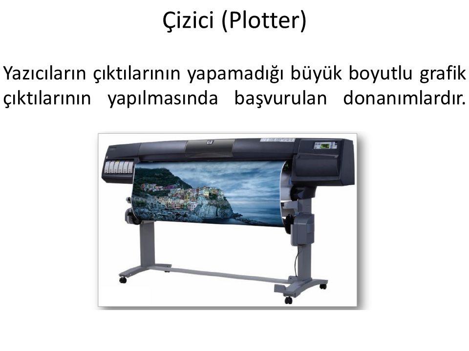 Çizici (Plotter) Yazıcıların çıktılarının yapamadığı büyük boyutlu grafik çıktılarının yapılmasında başvurulan donanımlardır.