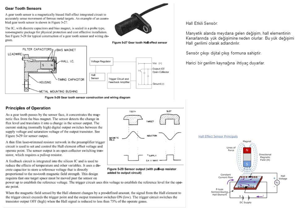 Hall Etkili Sensör: Manyetik alanda meydana gelen değişim, hall elementinin Kenarlarında yük değişimine neden olurlar. Bu yük değişimi Hall gerilimi o