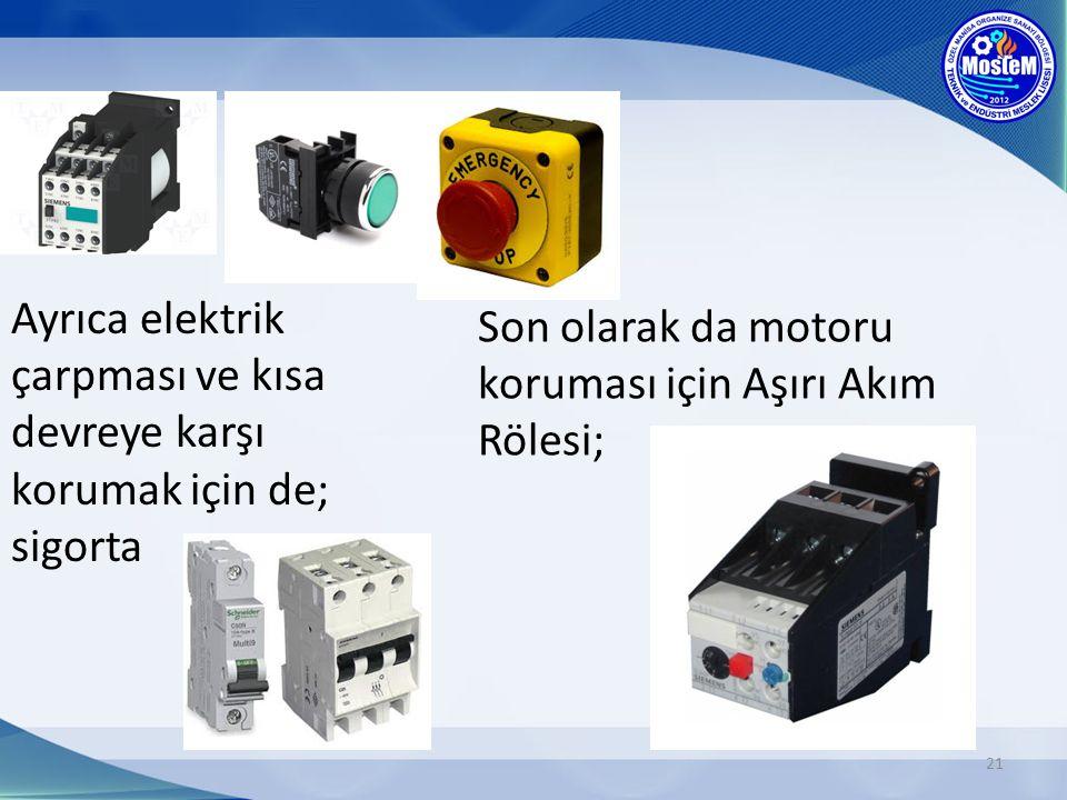 21 Ayrıca elektrik çarpması ve kısa devreye karşı korumak için de; sigorta Son olarak da motoru koruması için Aşırı Akım Rölesi;