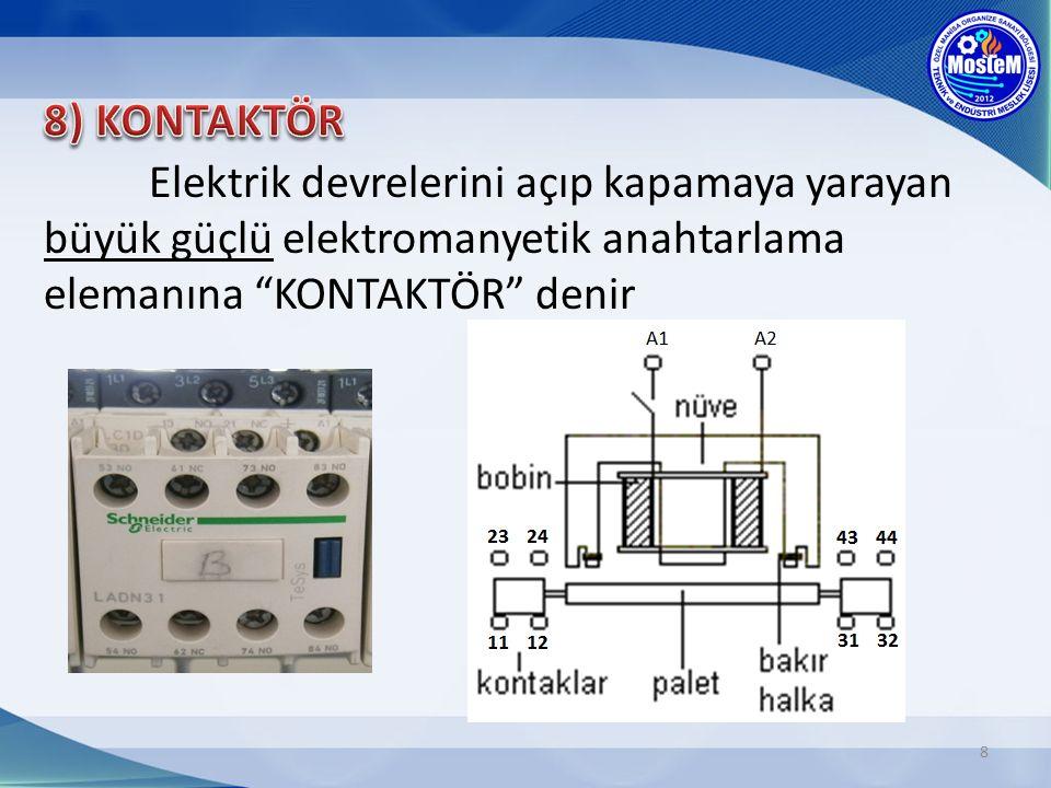 9 Kontaktörler güç kontaktörleri ve yardımcı kontaktörler olmak üzere iki kısma ayrılırlar; a)Güç Kontaktörleri; Yüksek akım çeken, güçlü alıcıların kontrolünde kullanılır.