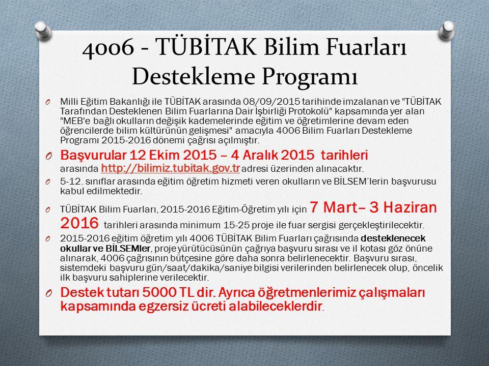 4006 - TÜBİTAK Bilim Fuarları Destekleme Programı O Milli Eğitim Bakanlığı ile TÜBİTAK arasında 08/09/2015 tarihinde imzalanan ve