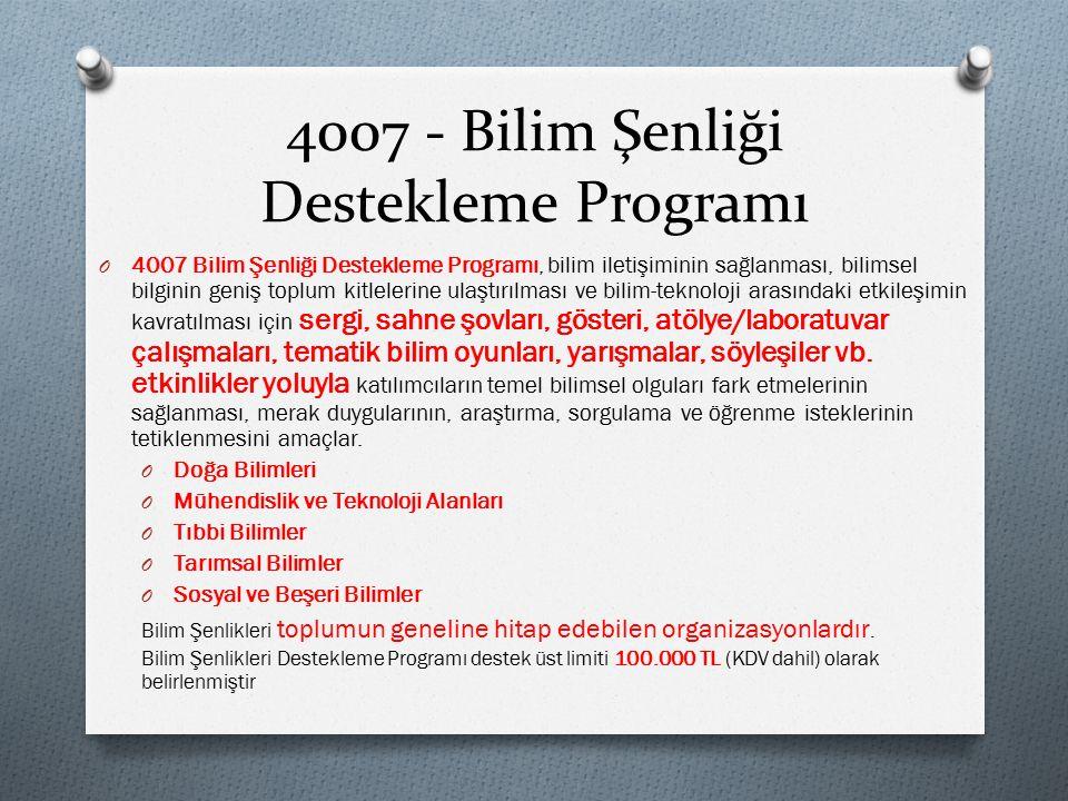 4007 - Bilim Şenliği Destekleme Programı O 4007 Bilim Şenliği Destekleme Programı, bilim iletişiminin sağlanması, bilimsel bilginin geniş toplum kitle