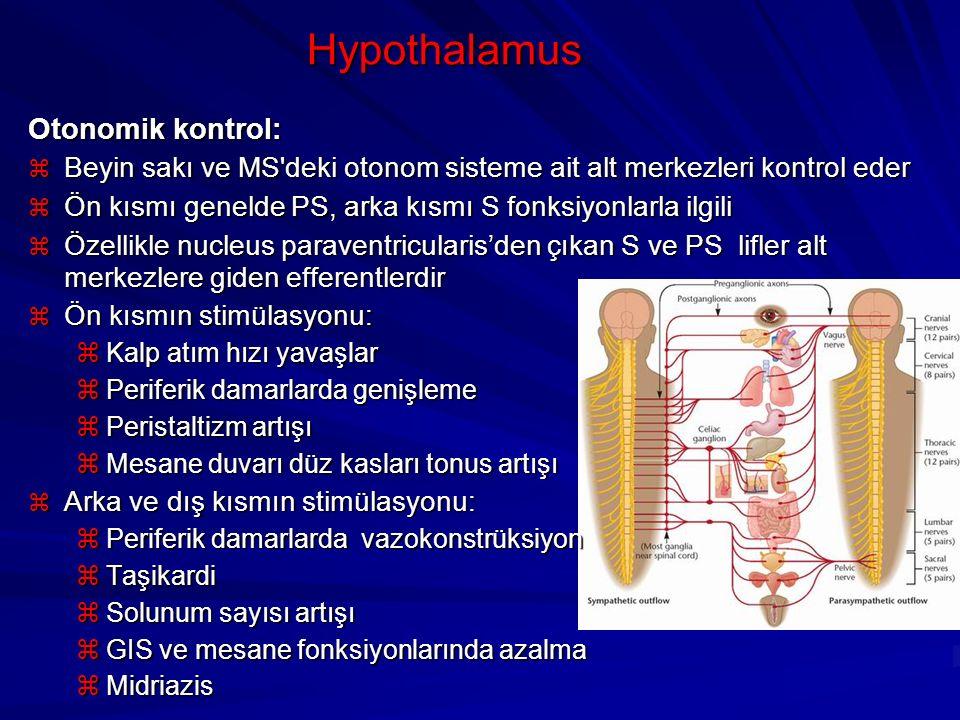 Hypothalamus Otonomik kontrol:  Beyin sakı ve MS'deki otonom sisteme ait alt merkezleri kontrol eder  Ön kısmı genelde PS, arka kısmı S fonksiyonlar