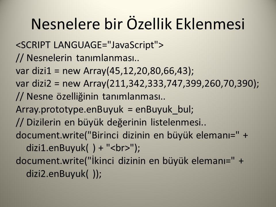Nesnelere bir Özellik Eklenmesi // Nesnelerin tanımlanması.. var dizi1 = new Array(45,12,20,80,66,43); var dizi2 = new Array(211,342,333,747,399,260,7