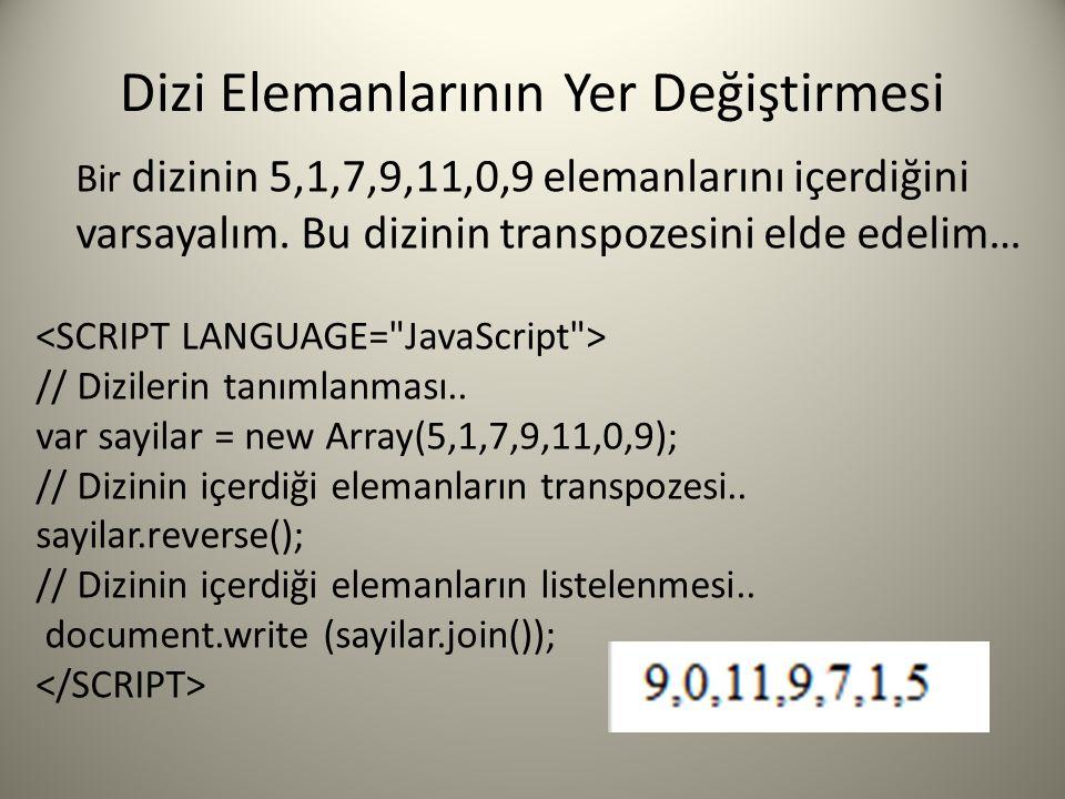 Dizi Elemanlarının Yer Değiştirmesi Bir dizinin 5,1,7,9,11,0,9 elemanlarını içerdiğini varsayalım. Bu dizinin transpozesini elde edelim… // Dizilerin