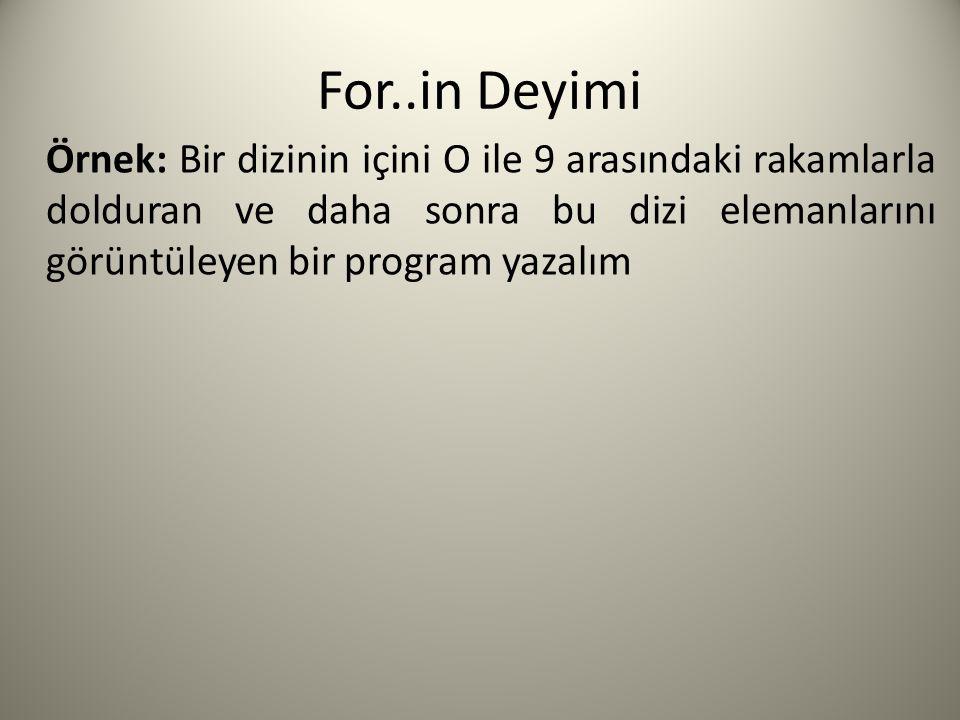 For..in Deyimi // Dizinin oluşturulması.