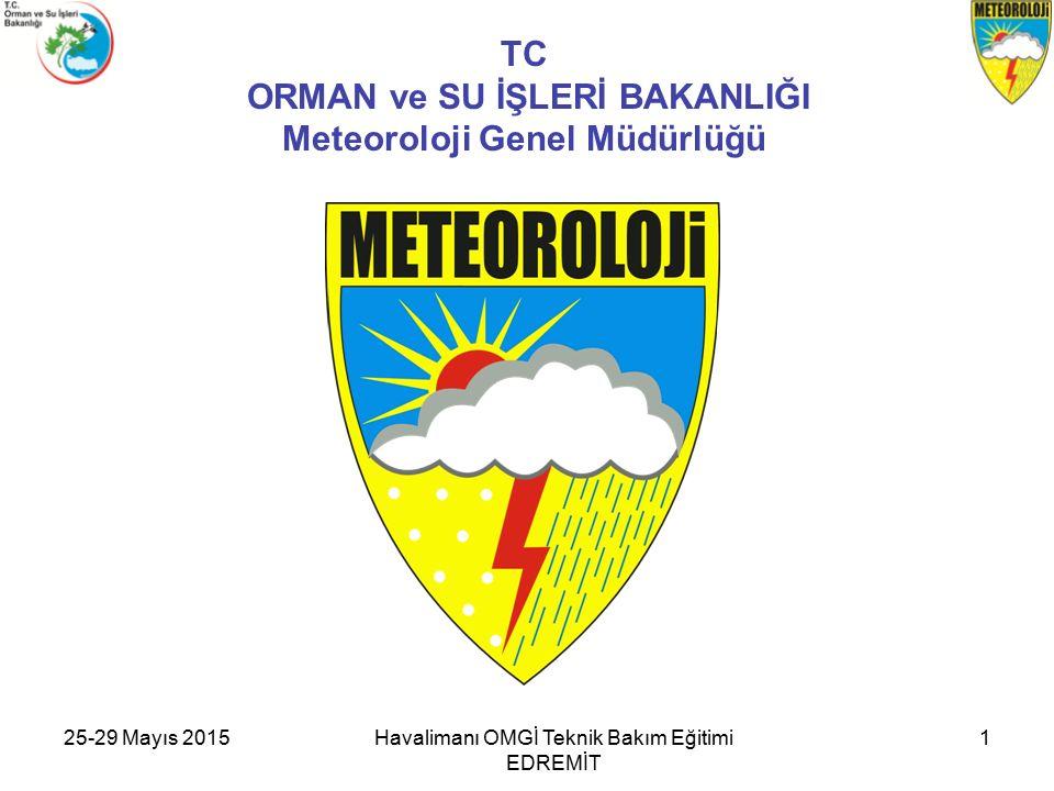 25-29 Mayıs 2015Havalimanı OMGİ Teknik Bakım Eğitimi EDREMİT 1 TC ORMAN ve SU İŞLERİ BAKANLIĞI Meteoroloji Genel Müdürlüğü