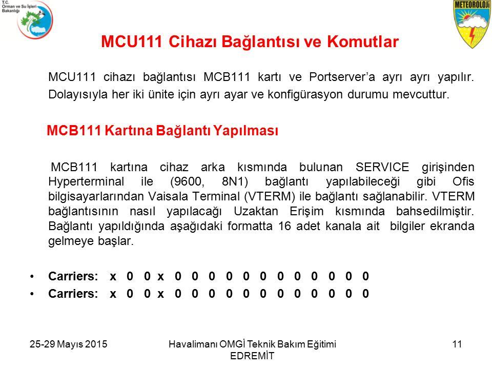 25-29 Mayıs 2015Havalimanı OMGİ Teknik Bakım Eğitimi EDREMİT 11 MCU111 cihazı bağlantısı MCB111 kartı ve Portserver'a ayrı ayrı yapılır.