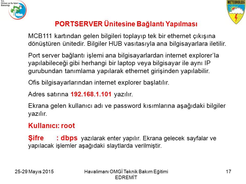 25-29 Mayıs 2015Havalimanı OMGİ Teknik Bakım Eğitimi EDREMİT 17 PORTSERVER Ünitesine Bağlantı Yapılması MCB111 kartından gelen bilgileri toplayıp tek bir ethernet çıkışına dönüştüren ünitedir.