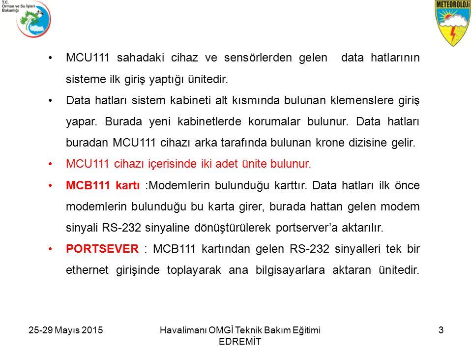 25-29 Mayıs 2015Havalimanı OMGİ Teknik Bakım Eğitimi EDREMİT 3 MCU111 sahadaki cihaz ve sensörlerden gelen data hatlarının sisteme ilk giriş yaptığı ünitedir.