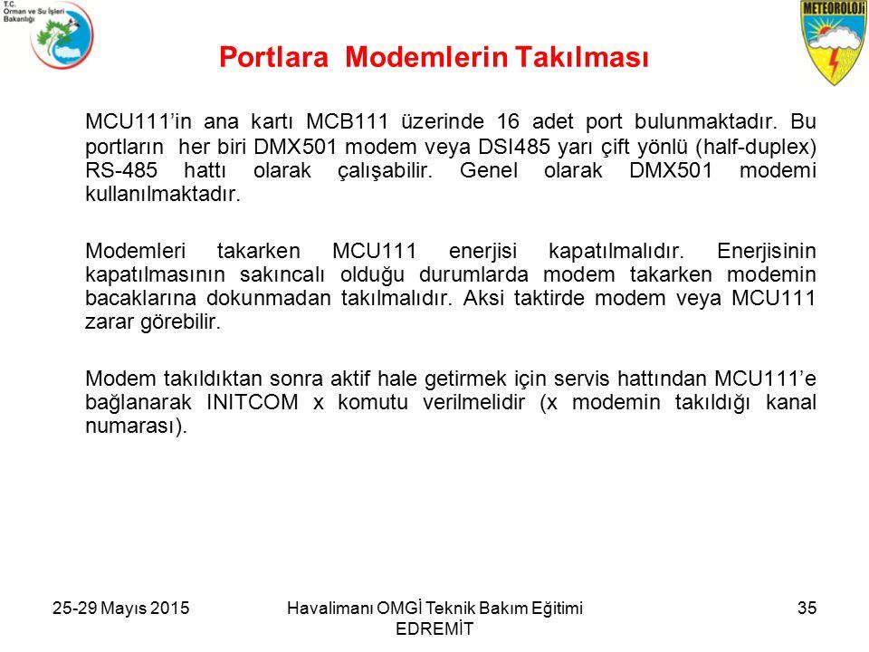 25-29 Mayıs 2015Havalimanı OMGİ Teknik Bakım Eğitimi EDREMİT 35 Portlara Modemlerin Takılması MCU111'in ana kartı MCB111 üzerinde 16 adet port bulunmaktadır.