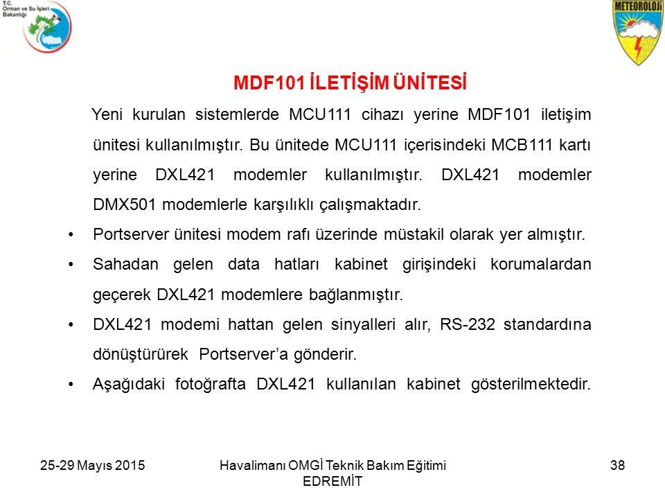 25-29 Mayıs 2015Havalimanı OMGİ Teknik Bakım Eğitimi EDREMİT 38 MDF101 İLETİŞİM ÜNİTESİ Yeni kurulan sistemlerde MCU111 cihazı yerine MDF101 iletişim ünitesi kullanılmıştır.