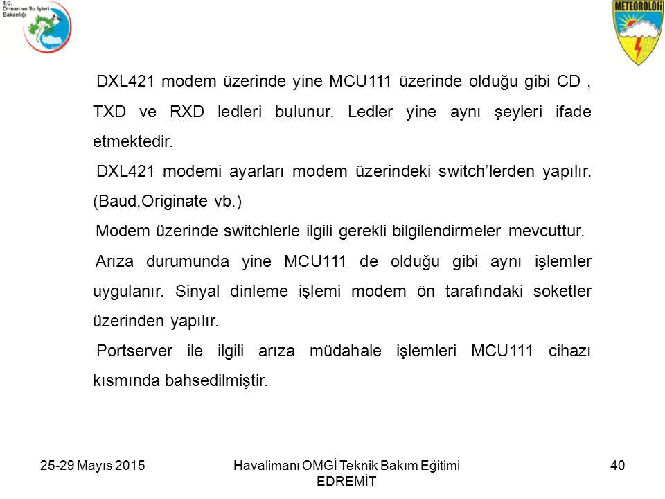 25-29 Mayıs 2015Havalimanı OMGİ Teknik Bakım Eğitimi EDREMİT 40 DXL421 modem üzerinde yine MCU111 üzerinde olduğu gibi CD, TXD ve RXD ledleri bulunur.