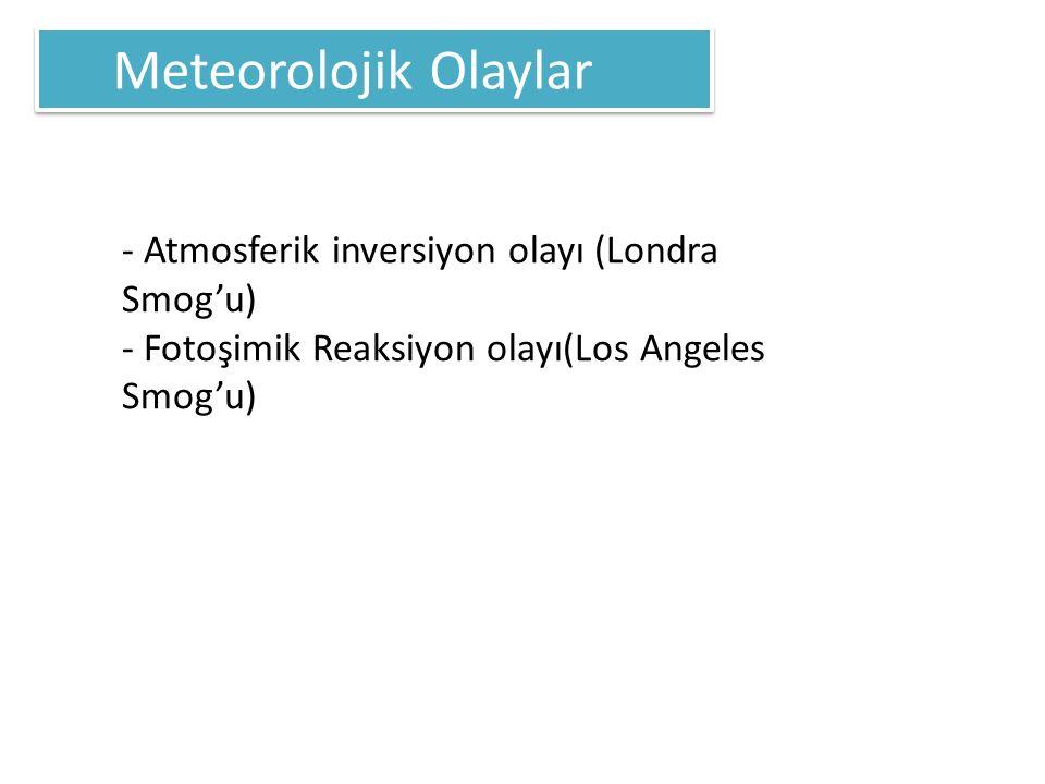 Meteorolojik Olaylar - Atmosferik inversiyon olayı (Londra Smog'u) - Fotoşimik Reaksiyon olayı(Los Angeles Smog'u)