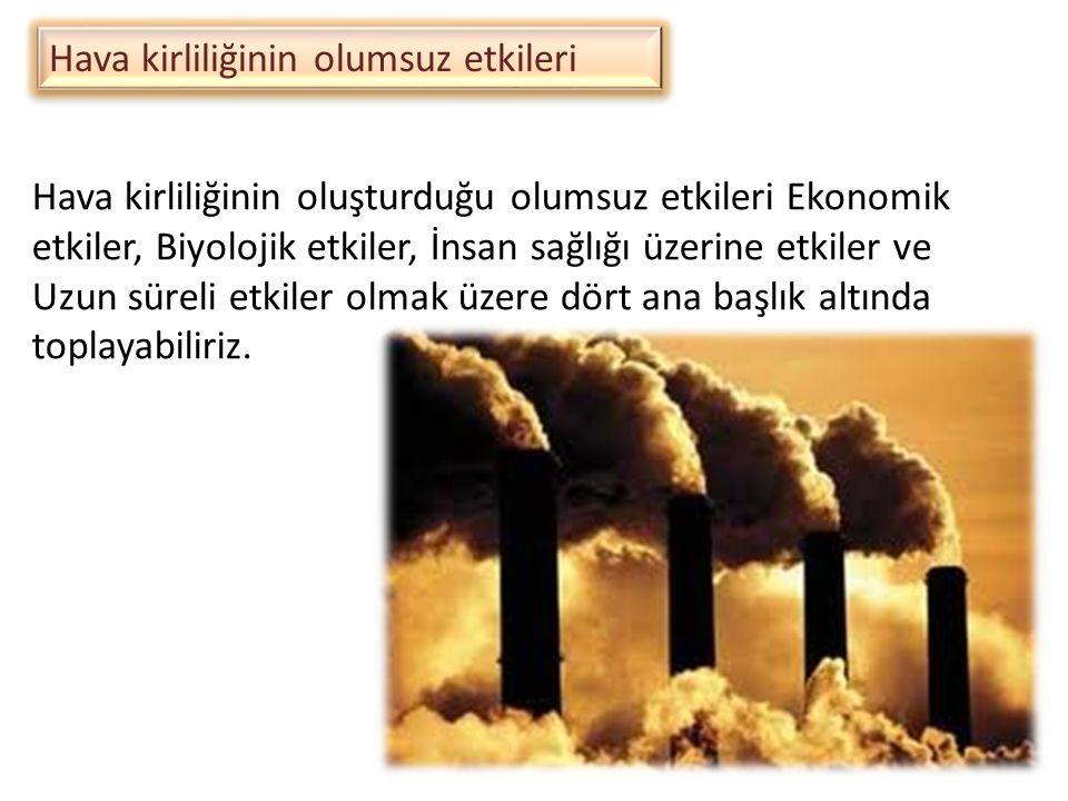 Hava kirliliğinin olumsuz etkileri Hava kirliliğinin oluşturduğu olumsuz etkileri Ekonomik etkiler, Biyolojik etkiler, İnsan sağlığı üzerine etkiler v